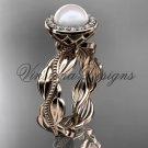 14kt rose gold, pearl, diamond, leaf and vine, halo engagement ring VFP301021