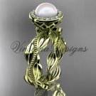 14kt yellow gold, pearl, diamond, leaf and vine, halo engagement ring VFP301021