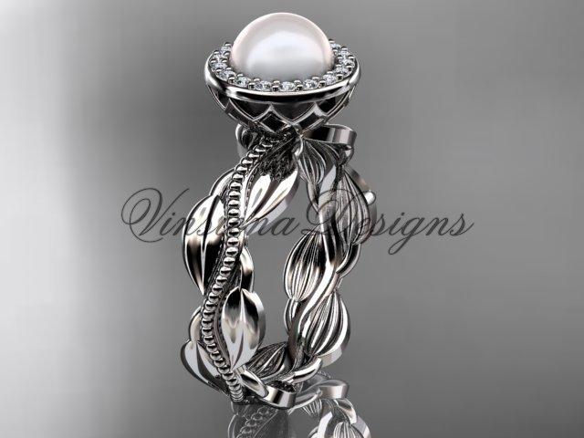 Platinum, pearl, diamond, leaf and vine, halo engagement ring VFP301021