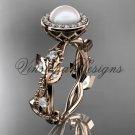 14kt rose gold, pearl, diamond, leaf and vine,halo engagement ring VFP301018