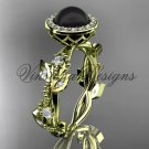 14kt yellow gold, pearl, diamond, leaf and vine, halo engagement ring VFBP301018