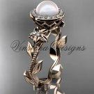 14kt rose gold, pearl, diamond, leaf and vine, floral, halo engagement ring VFP301016