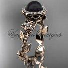 14kt rose gold, pearl, diamond, leaf and vine, floral, halo engagement ring VFBP301016