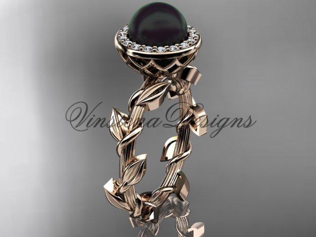 14kt rose gold, pearl, diamond, leaf and vine, halo engagement ring VFBP301015