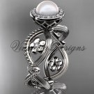 14kt white gold, pearl, flower, halo engagement ring VFP301014