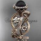14kt rose gold, pearl, flower, halo engagement ring VFBP301014