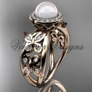 14kt rose gold, pearl, diamond, butterfly, halo engagement ring VFP301013