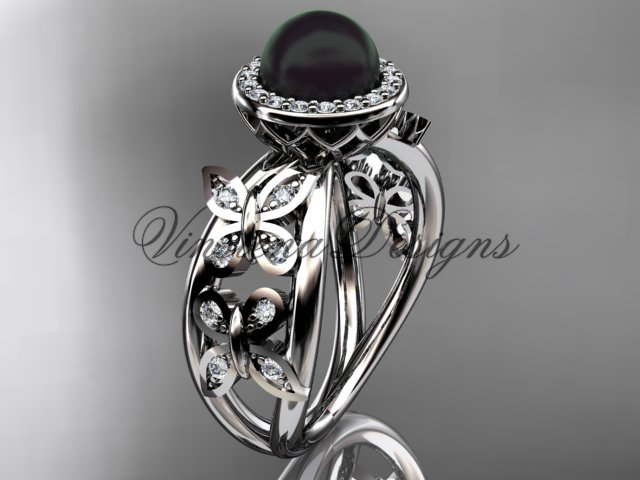 14kt white gold, pearl, diamond, butterfly, halo engagement ring VFBP301013