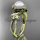 14kt yellow gold pearl, flower, halo engagement ring VFP301010