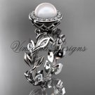 14kt white gold pearl, diamond leaf and vine halo engagement ring VFP301007