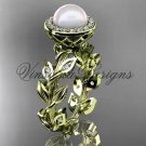 14kt yellow gold pearl, diamond leaf and vine halo engagement ring VFP301007