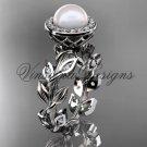 Platinum  pearl, diamond leaf and vine halo engagement ring VFP301007