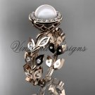14kt rose gold pearl, diamond leaf and vine engagement ring VFP301006