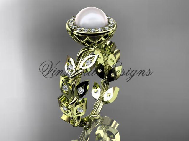 14kt yellow gold pearl, diamond leaf and vine engagement ring VFP301006
