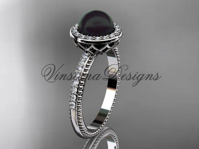 Platinum pearl, diamond halo, eternity engagement ring VFBP301005