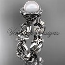 Platinum  diamond leaf and vine, flower, pearl, halo wedding ring, engagement ring VFP301001