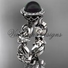 14kt white gold diamond leaf and vine, flower, pearl, halo wedding ring, engagement ring VFBP301001