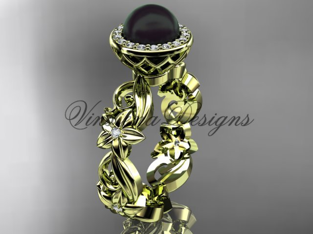 14kt yellow gold diamond leaf and vine, flower, pearl, halo wedding ring, engagement ring VFBP301001