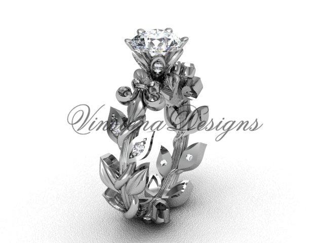 Platinum  diamond leaf and vine, Fleur de Lis, Moissanite engagement ring VD208124