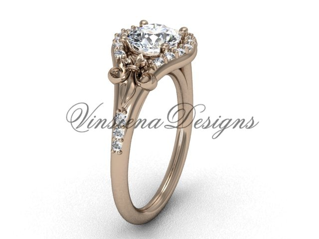 14kt rose gold diamond Fleur de Lis, eternity, One Moissanite engagement ring VD208126