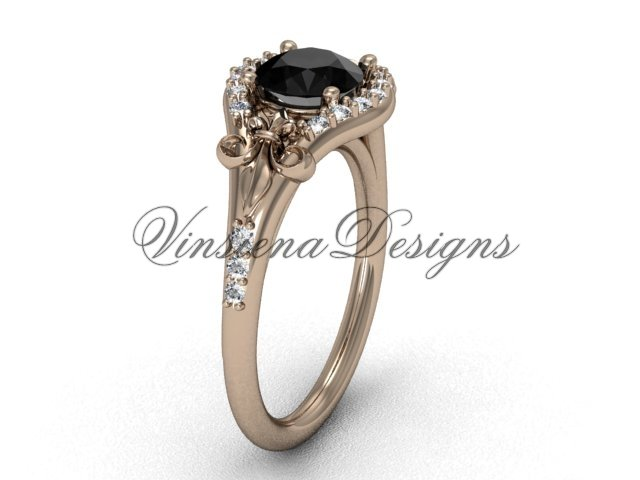 14kt rose gold diamond Fleur de Lis, eternity, Black Diamond engagement ring VD208126