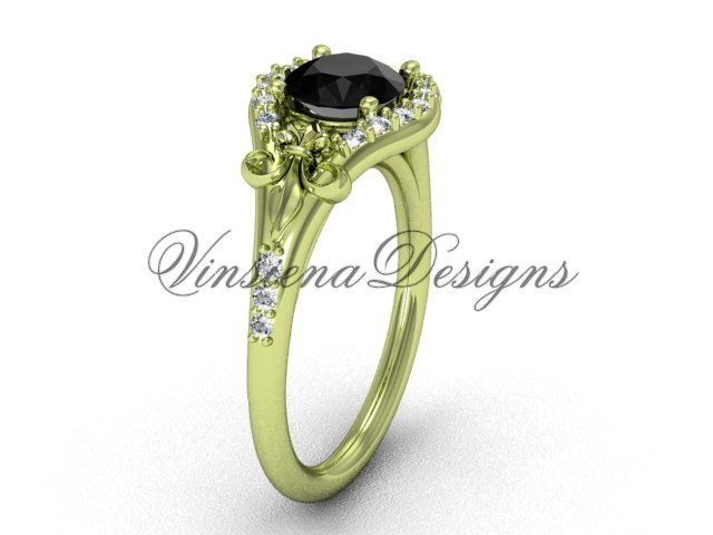 14kt yellow gold diamond Fleur de Lis, eternity, Black Diamond engagement ring VD208126