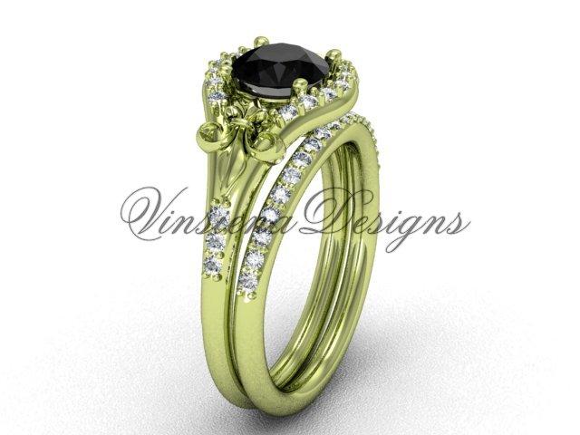 14kt yellow gold diamond Fleur de Lis, engagement ring, Black Diamond engagement set VD208126S