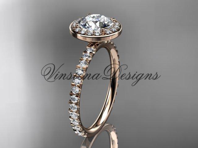 """14kt rose gold engagement ring """"Forever One"""" Moissanite VD10082"""