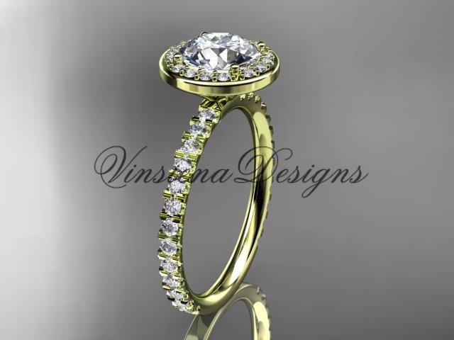 "14kt yellow gold engagement ring ""Forever One"" Moissanite VD10082"