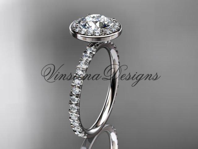 """platinum  engagement ring """"Forever One"""" Moissanite VD10082"""