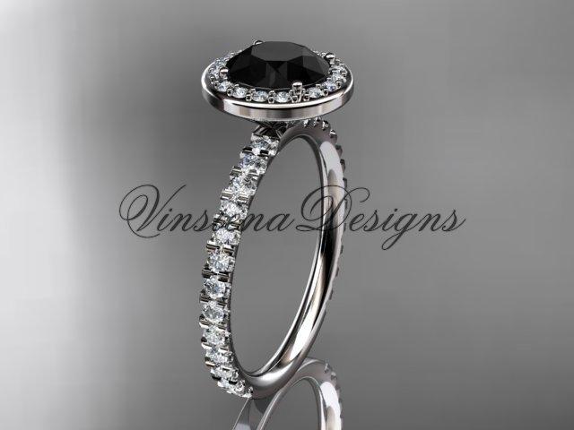 14kt white gold engagement ring Black Diamond VD10082