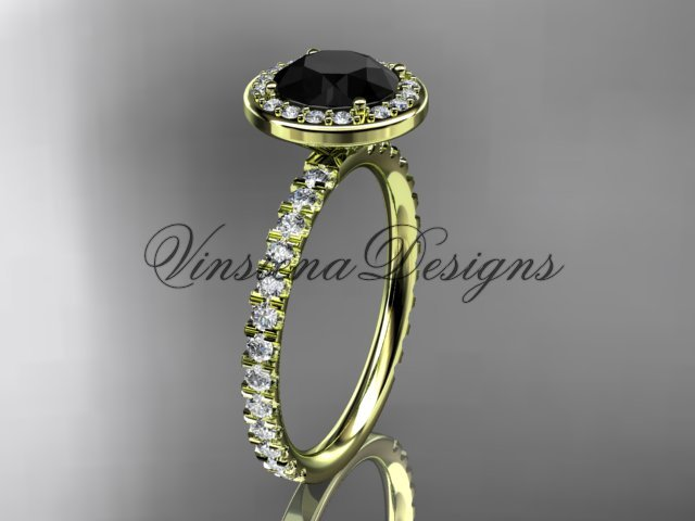 14kt yellow gold engagement ring Black Diamond VD10082