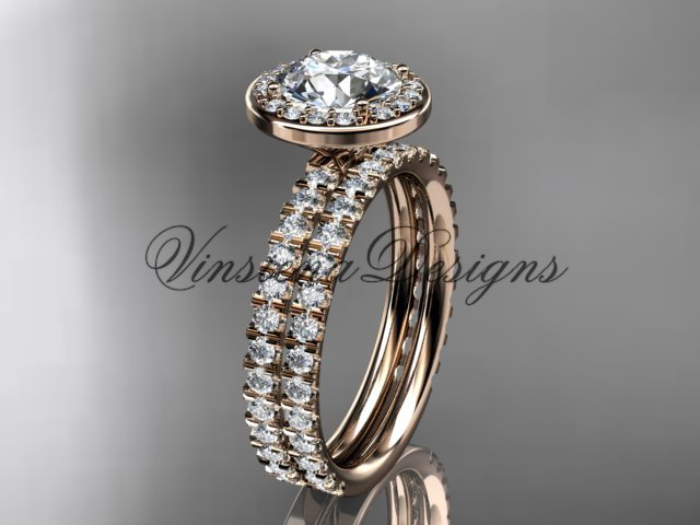 14k rose gold engagement ring, wedding band, engagement set VD10082S