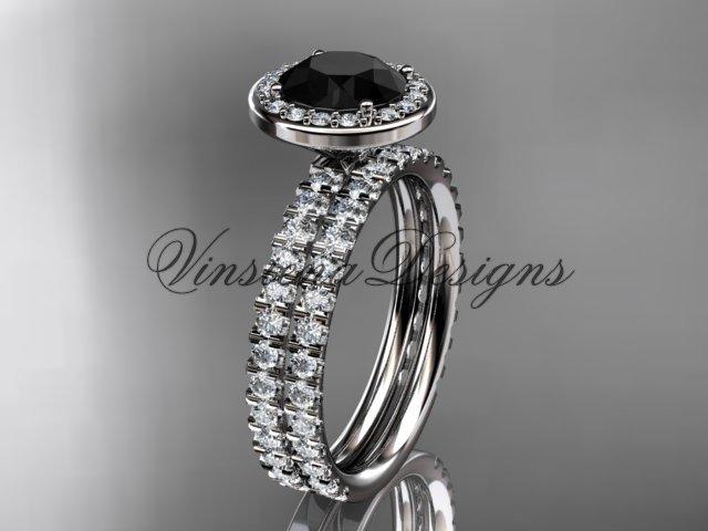 14k white gold engagement ring, wedding band, engagement set, Black Diamond VD10082S