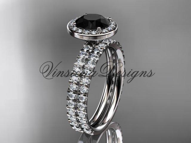 Platinum  engagement ring, wedding band, engagement set, Black Diamond VD10082S