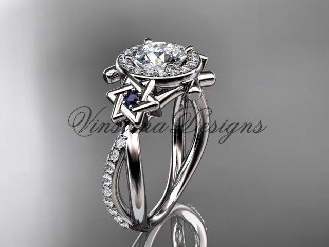 14kt white gold diamond, Star of David ring, engagement ring, Forever One Moissanite VH10012