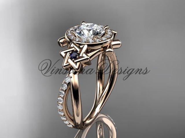 14kt rose gold diamond, Star of David ring, engagement ring, Forever One Moissanite VH10012