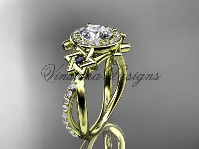 14kt yellow gold diamond, Star of David ring, engagement ring, Forever One Moissanite VH10012
