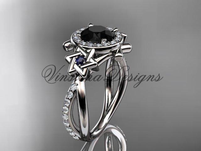 14kt white gold diamond, Star of David ring, engagement ring, enhanced Black Diamond VH10012