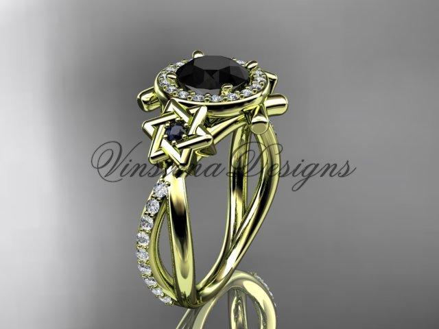 14kt yellow gold diamond, Star of David ring, engagement ring, enhanced Black Diamond VH10012