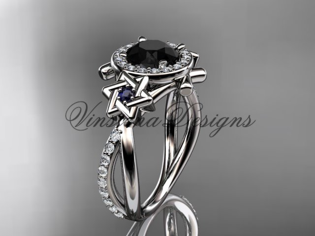 Platinum  diamond, Star of David ring, engagement ring, enhanced Black Diamond VH10012