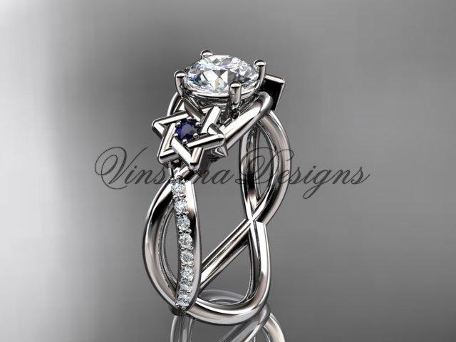 14kt white gold diamond, Star of David ring, jewish ring, engagement ring VH10013