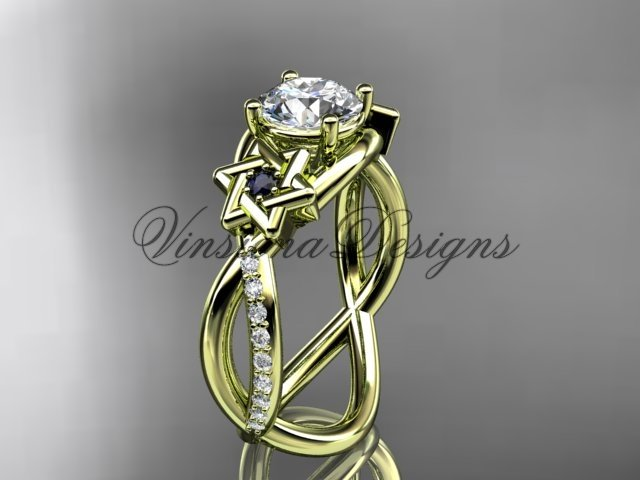 14kt yellow gold diamond, Star of David ring, Forever One Moissanite, engagement ring VH10013