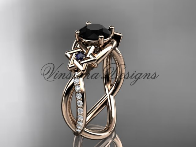 14kt rose gold diamond, Star of David ring, enhanced Black Diamond, engagement ring VH10013