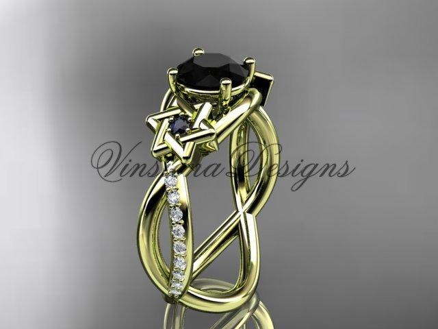 14kt yellow gold diamond, Star of David ring, enhanced Black Diamond, engagement ring VH10013