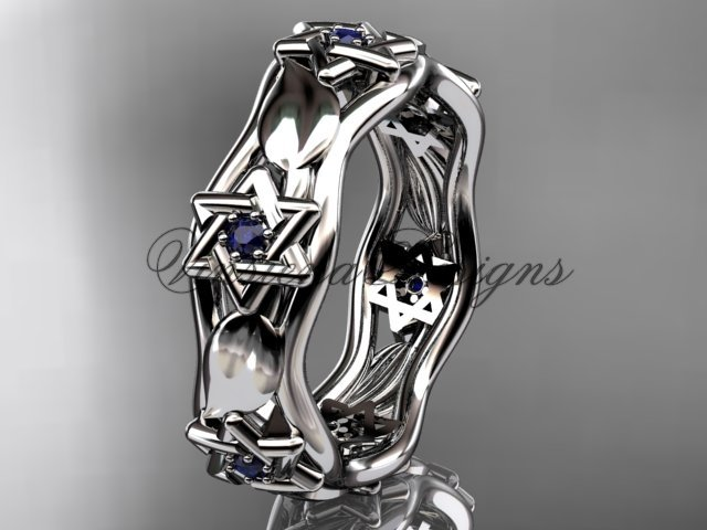 14kt white gold Star of David ring, jewish ring, leaf and vine wedding band VH10014B