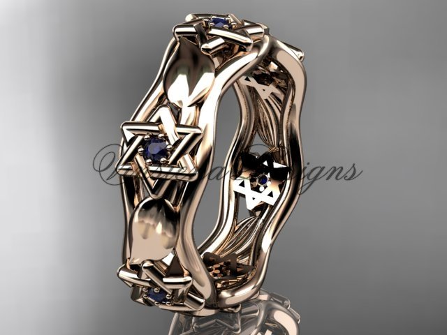 14kt rose gold Star of David ring, jewish ring, leaf and vine wedding band VH10014B