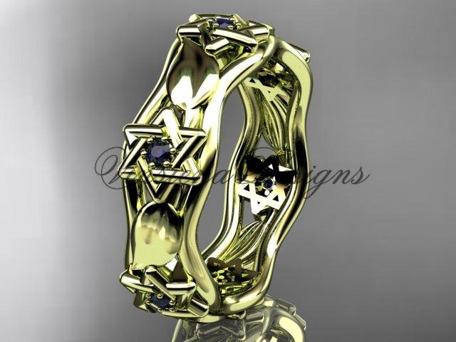 14kt yellow gold Star of David ring, jewish ring, leaf and vine wedding band VH10014B