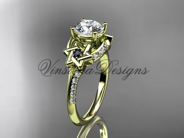 14kt yellow gold diamond, jewish Star of David ring, engagement ring VH10015
