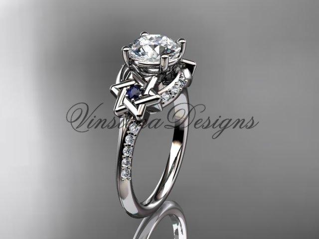 14kt white gold diamond, jewish Star of David ring, Forever One Moissanite engagement ring VH10015